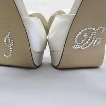 I Do Wedding Rhinestone Crystal Brides Shoe Sticker Diamante Lov 1d913581d