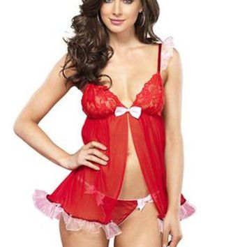 2pc.sequin Trimmed Sheer Flyaway Babydoll And Thong In Red