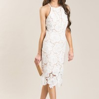 Maya White Lace Halter Midi Dress