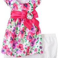 Young Hearts Baby Girls' 2 Piece Floral Bow Dress Set, Pink, 18 Months