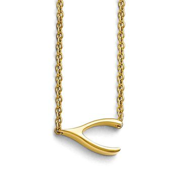 Sideways Wishbone 16 Inch Necklace in Gold Tone Plated Stainless Steel