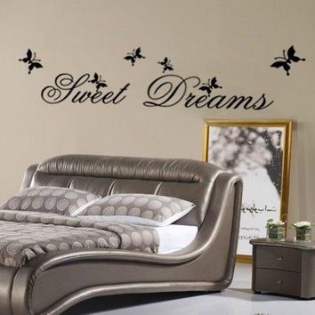 Myhome Sweet Dream Lettering Sticker and Dancing Butterflies Art Wall Decor Decal for Living Room, for Bedroom.
