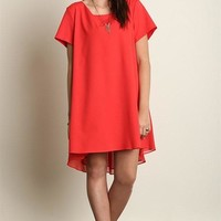 Plus Size Short Sleeve A-Line Hi-Lo Dress - Red