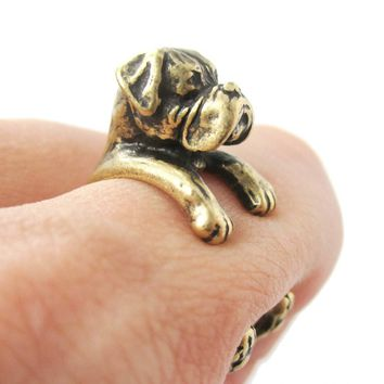 Realistic Boxer Dog Shaped Animal Wrap Ring in Brass | Sizes 4 to 8.5