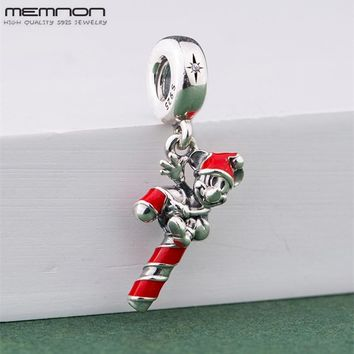 Memnon cartoon Christmas Santa candy charms 925 Sterling Silver charm Fit beads Bracelets DIY for women fashion Jewelry making