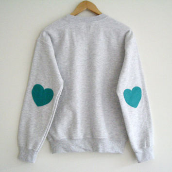Grey Sweater Turquoise Hearts Elbow. Hipster Sweater Crew Neck. Workout Sweatshirt. Turquoise Happy Sweaters