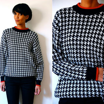 Vtg Houndstooth B&W Red Trimmed Knitted Sweater