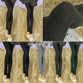 HOT SELL Women's Sexy Stirrup Cotton Blend Pantyhose Warm Stockings Tights 7 Candy Color Choose BD0155 FREE SHIP