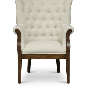 Fabric Upholstered Wooden Accent Chair With Button Tufted Back, Cream and Brown