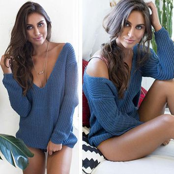 Fashion Loose Deep V-Neck Knit Top Sweater Pullover Knitwear
