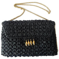 Rodo Black Straw Purse with Gold Accents Signed