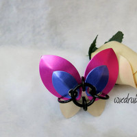 Scale Butterfly Barrette, Pink, Purple and Silver Hand Made Aluminum Hair Accessory