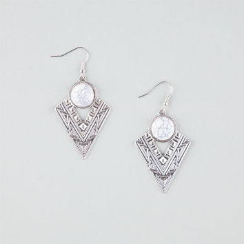 Full Tilt Etched Triangle Earrings Silver One Size For Women 25971514001