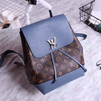 Lv Louis Vuitton Women's Large Monogram Leather Backpack Bag