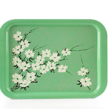 Vintage Metal Tray, Green Floral, Dogwood, Spring Decor, Garden Party, Set of Six