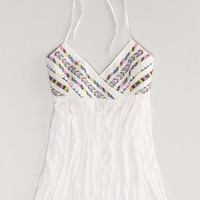 AEO Women's Embroidered Halter Top (Chalk)