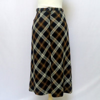 Long Brown Skirt - Plaid - Long Skirt - Vintage