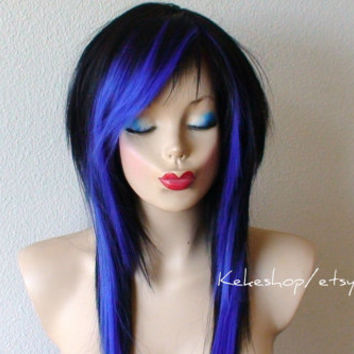 Scene hair. Emo Black / Blue wig. Black scene wig. Black  hair w/ midnight blue wig. Emo hair. Emo wig.