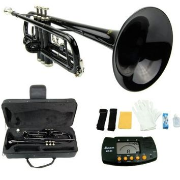 Merano B Flat BLACK / Silver Trumpet with Case+Mouth Piece+Valve Oil+Metro Tuner