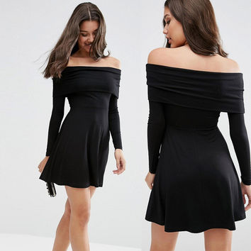 Winter Sexy Strapless Shaped Slim Long Sleeve Skating Dress One Piece Dress [6351444868]