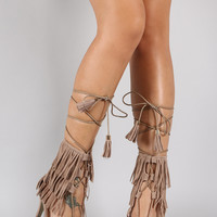 Fringe Cuff Tassel Lace Up Open Toe Heel