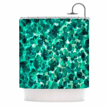 "Ebi Emporium ""WILD THING, TEAL GREEN"" Teal Green Animal Print Abstract Watercolor Mixed Media Shower Curtain"