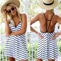 Black and White Striped V-Neck Dress