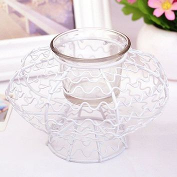 Chic Solid Color Pumpkin Shape Candle Holder (Without Candle)