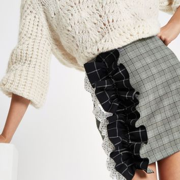 Grey check print ruffle mini skirt - Mini Skirts - Skirts - women