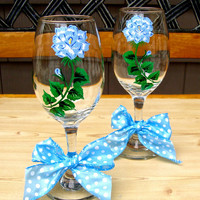 Hand Painted Wine Glasses With Light Blue Roses