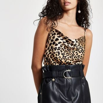 Brown leopard print cowl neck cami top - Cami / Sleeveless Tops - Tops - women
