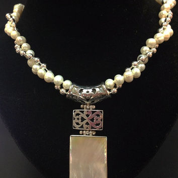 Large Rectangle Mother of Pearl Pendant Necklace Knotted Strand Freshwater Pearls Necklace Solid fancy 925 Italy Sterling Silver Bead Chain