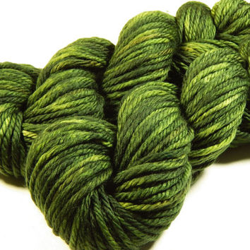 Hand Dyed Yarn - Bulky Weight Superwash Merino Wool Yarn - Moss Tonal - Knitting Yarn, Wool Yarn, Bulky Yarn, Olive Green