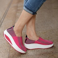 Knitted Swing  Women Sport Breathable Platform Slimming shoes