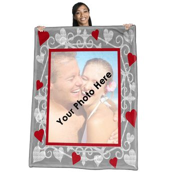 Sweet Heart  (gray-scale)  w/red hearts Photo Throw Blanket / Tapestry Wall Hanging