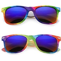 Colourful Gay Pride Mirror Lens Wayfarer Style Rainbow Sunglasses