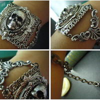 Antique sterling silver plated brass skull cameo gothic bracelet,