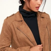 Get Lucky Tan Suede Moto Jacket