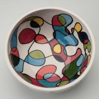 Retro Scribble Bowl by owlcreekceramics on Etsy