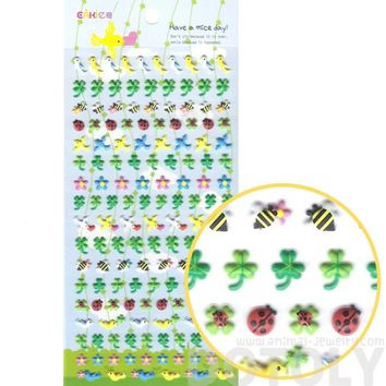 Birds Doves Bees Ladybugs and Four Leaf Clovers Shaped Puffy Stickers for Kids