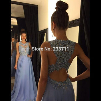 Sexy O Neck A Line Ombre Chiffon Lace Beaded Lavender Long Prom Dress