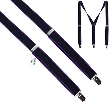 Black-Purple Slim Suspenders