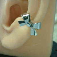 Dainty Ear Cuff Silver Bow  No Piercing Required by LovelyByDesign