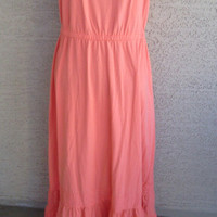 Peach maxi dress boho - springtime dress - empire waistline - cotton rayon spandex - eyelet lace flounce hemline size small feminine