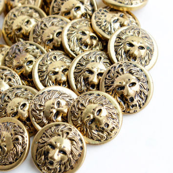 Vintage Brass Lion Button Lot - 25 Gold Tone Supply Figural Shank Buttons / Wild Cat Head Findings