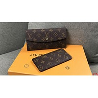 LV Tide brand women's fashion wild long classic old chess board wallet two-piece coffee print