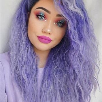 Lavender Dawn Purple Sprinkles Curly Synthetic Lace Front Wig