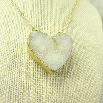 White Druzy Crystal Necklace with Gold Toned Chain