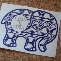 Elephant Decal | Personalized Decal | Elephant Monogram | Decal | Monogram | Aztec | Animal Decal | Animal Lover