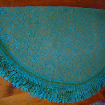 60s Round Tablecloth Vintage Blue Green Retro Colors  Fringe Mid Century 64 Inch